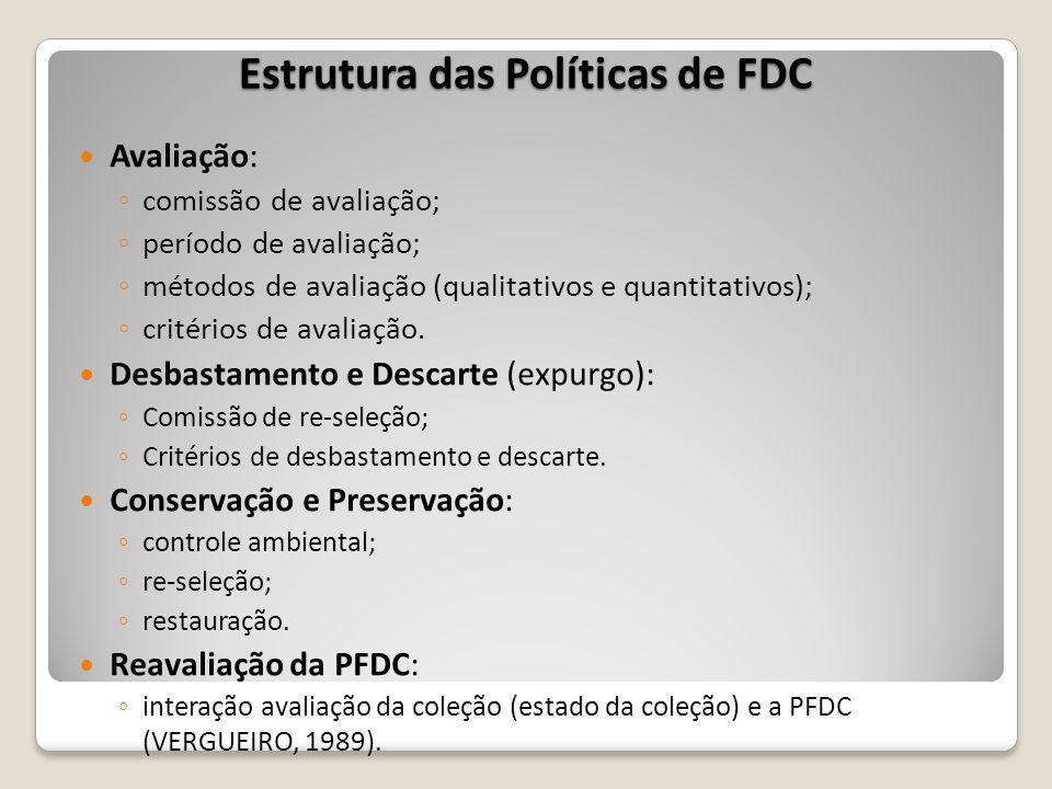 Estrutura das Políticas de FDC Avaliação: comissão de avaliação; período de avaliação; métodos de avaliação (qualitativos e quantitativos); critérios de avaliação.