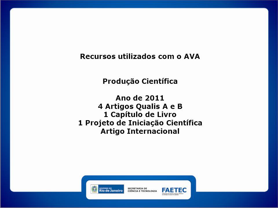 Recursos utilizados com o AVA Produção Científica Ano de 2011 4 Artigos Qualis A e B 1 Capítulo de Livro 1 Projeto de Iniciação Científica Artigo Internacional