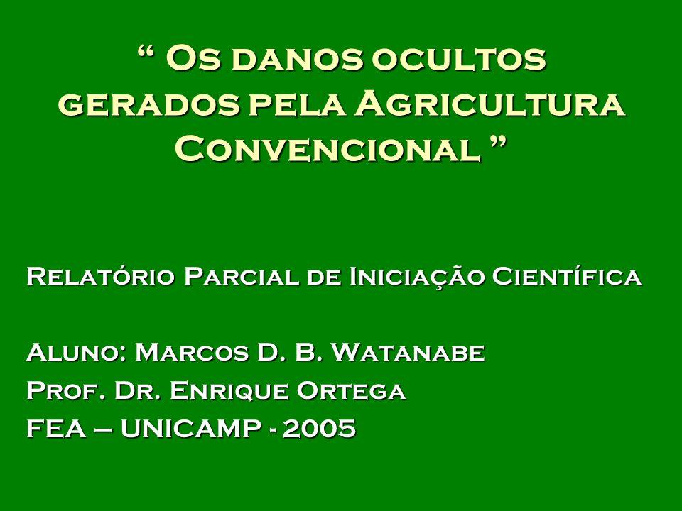 Os danos ocultos gerados pela Agricultura Convencional Os danos ocultos gerados pela Agricultura Convencional Relatório Parcial de Iniciação Científica Aluno: Marcos D.