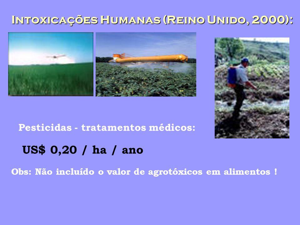 Intoxicações Humanas (Reino Unido, 2000): Pesticidas - tratamentos médicos: US$ 0,20 / ha / ano Obs: Não incluído o valor de agrotóxicos em alimentos !