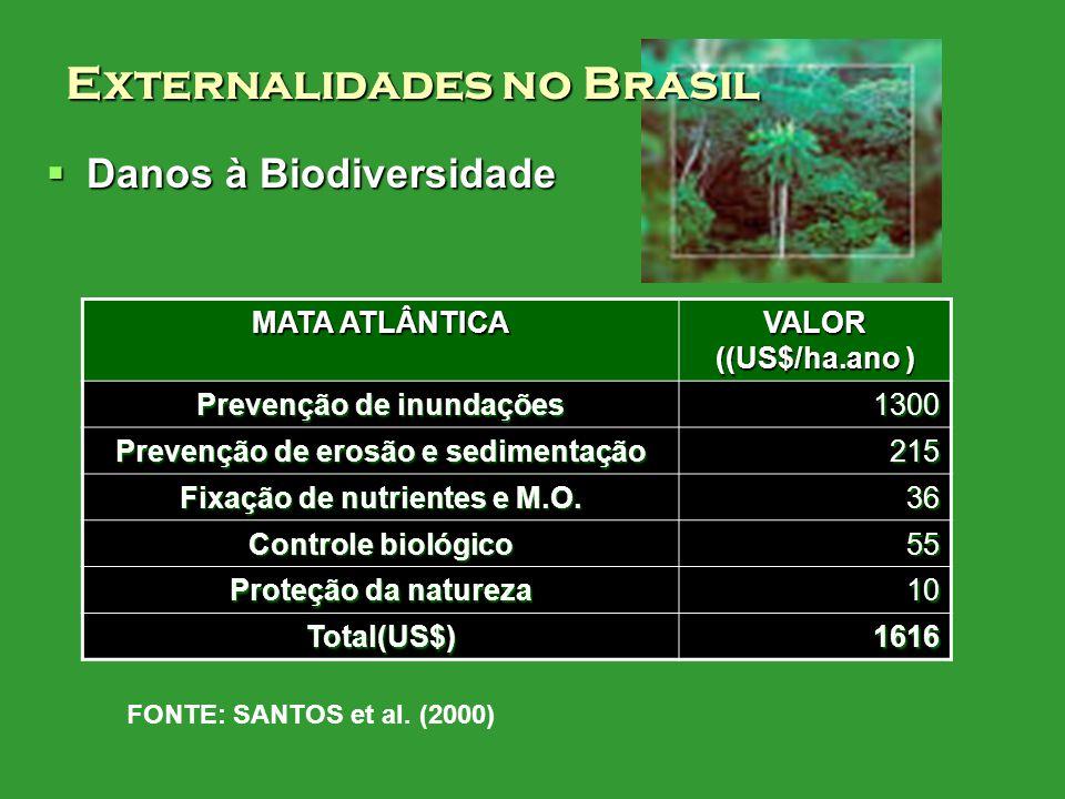 Danos à Biodiversidade Danos à Biodiversidade MATA ATLÂNTICA VALOR ((US$/ha.ano ) Prevenção de inundações 1300 Prevenção de erosão e sedimentação 215 Fixação de nutrientes e M.O.