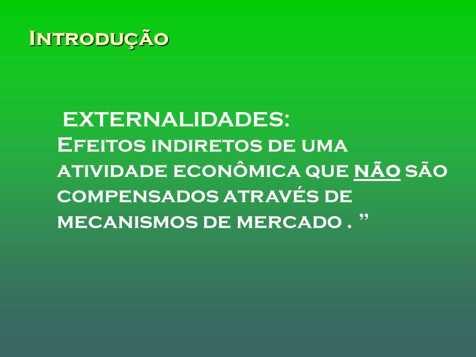 Introdução EXTERNALIDADES: Efeitos indiretos de uma atividade econômica que não são compensados através de mecanismos de mercado.