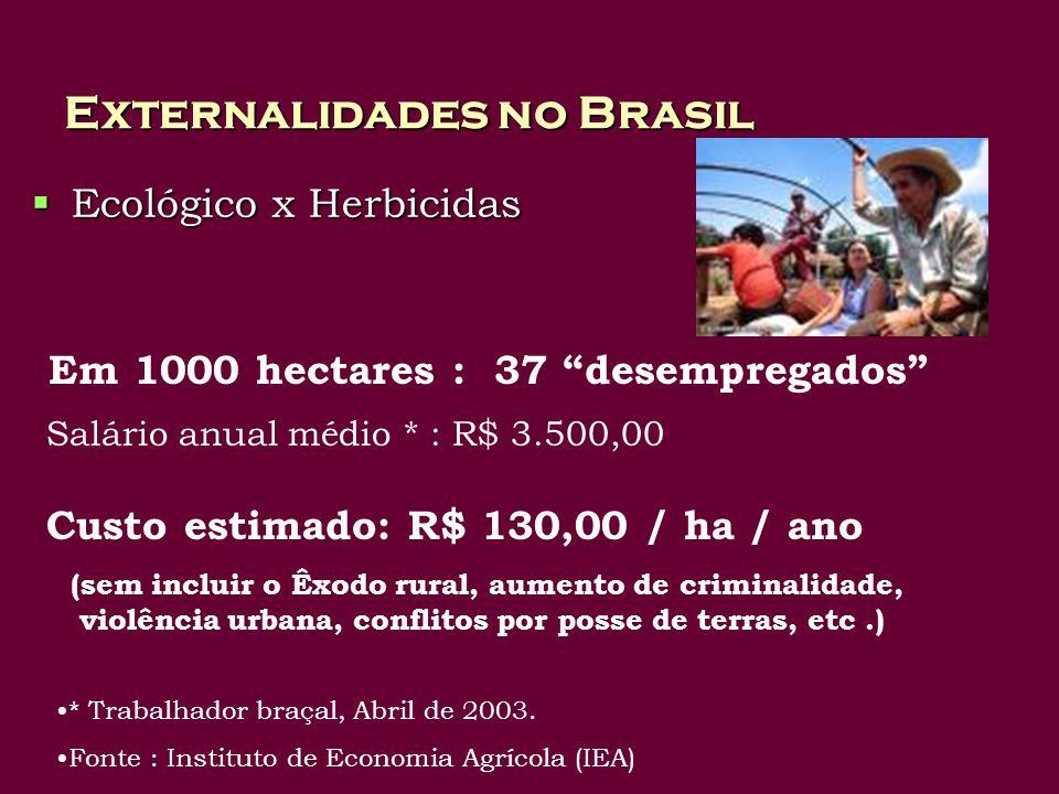 Externalidades no Brasil Ecológico x Herbicidas Ecológico x Herbicidas Em 1000 hectares : 37 desempregados Salário anual médio * : R$ 3.500,00 Custo estimado: R$ 130,00 / ha / ano (sem incluir o Êxodo rural, aumento de criminalidade, violência urbana, conflitos por posse de terras, etc.) * Trabalhador braçal, Abril de 2003.
