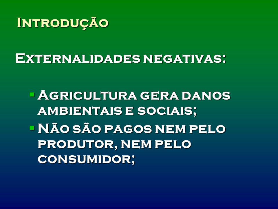 Introdução Externalidades negativas: Agricultura gera danos ambientais e sociais; Agricultura gera danos ambientais e sociais; Não são pagos nem pelo produtor, nem pelo consumidor; Não são pagos nem pelo produtor, nem pelo consumidor;