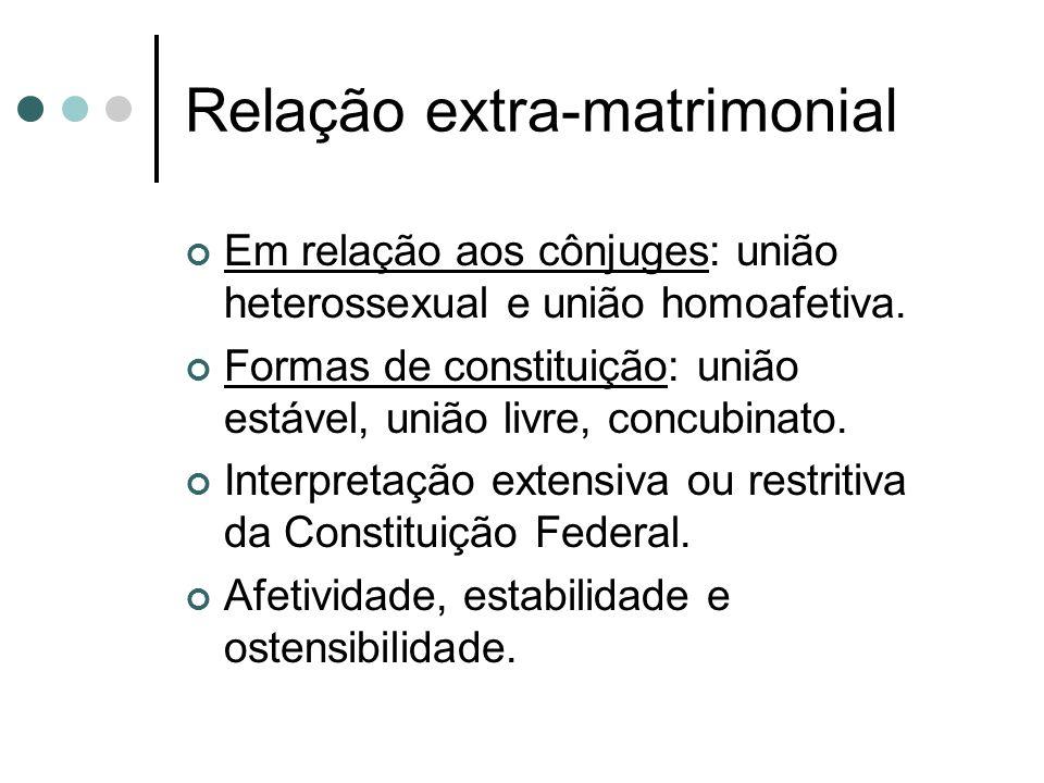 Relação extra-matrimonial Em relação aos cônjuges: união heterossexual e união homoafetiva.