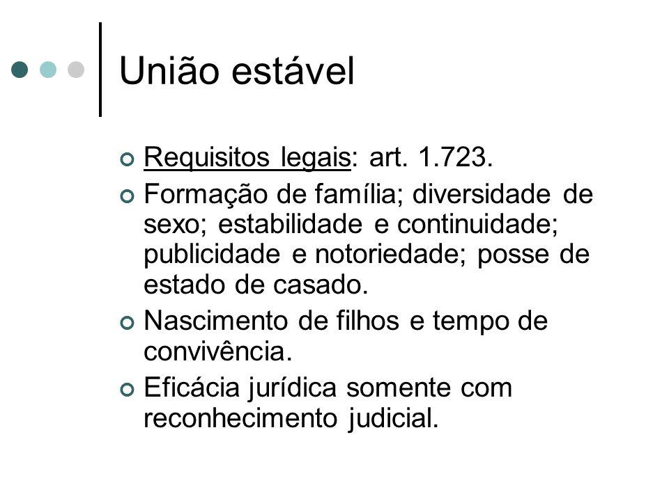 União estável Requisitos legais: art.1.723.