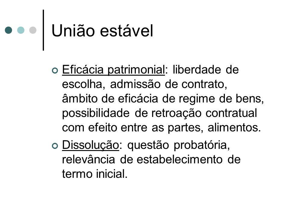 União estável Eficácia patrimonial: liberdade de escolha, admissão de contrato, âmbito de eficácia de regime de bens, possibilidade de retroação contratual com efeito entre as partes, alimentos.