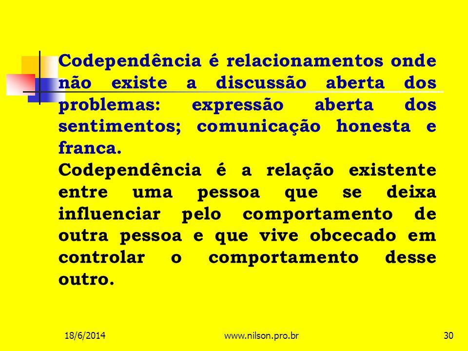Codependência é relacionamentos onde não existe a discussão aberta dos problemas: expressão aberta dos sentimentos; comunicação honesta e franca. Code
