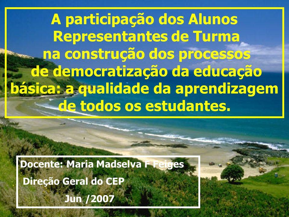 A participação dos Alunos Representantes de Turma na construção dos processos de democratização da educação básica: a qualidade da aprendizagem de tod