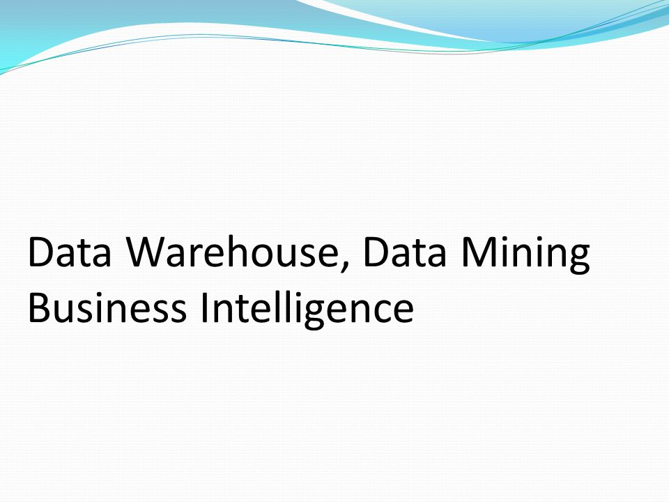 Data Warehouse, Data Mining Business Intelligence