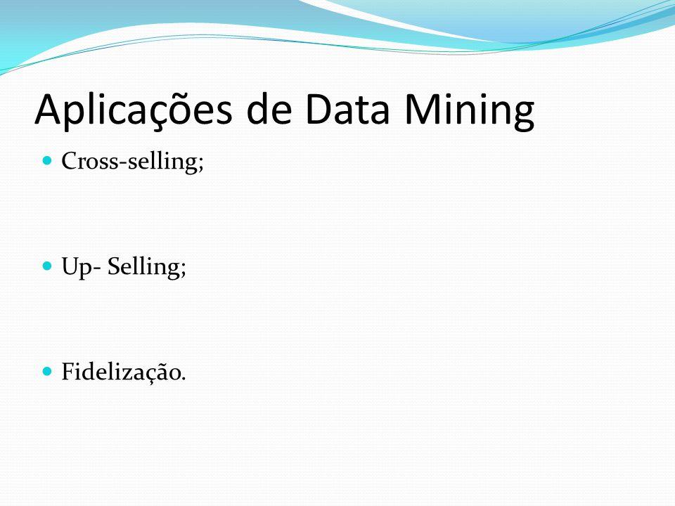 Aplicações de Data Mining Cross-selling; Up- Selling; Fidelização.