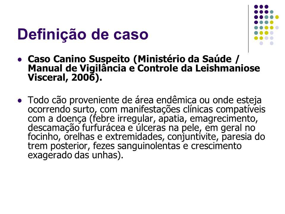 Definição de caso Caso Canino Suspeito (Ministério da Saúde / Manual de Vigilância e Controle da Leishmaniose Visceral, 2006). Todo cão proveniente de