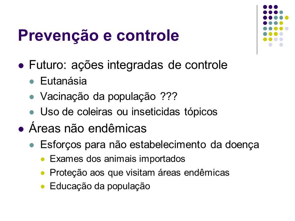 Prevenção e controle Futuro: ações integradas de controle Eutanásia Vacinação da população ??? Uso de coleiras ou inseticidas tópicos Áreas não endêmi