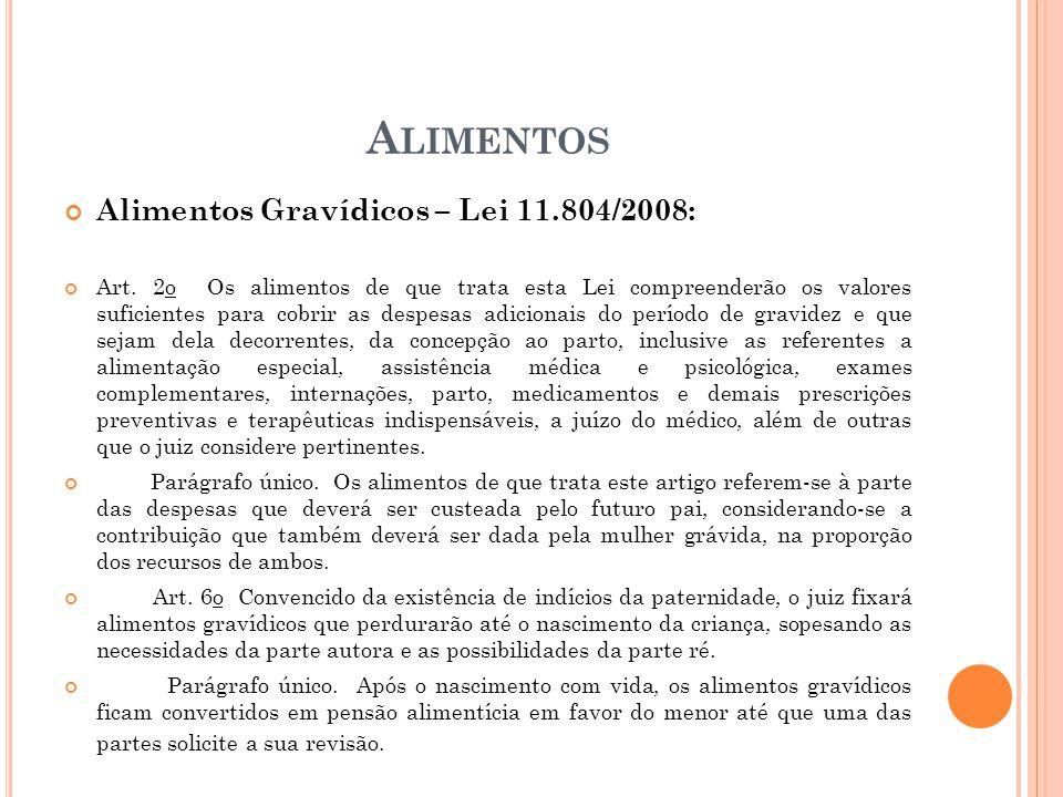 A LIMENTOS Alimentos Gravídicos – Lei 11.804/2008: Art. 2o Os alimentos de que trata esta Lei compreenderão os valores suficientes para cobrir as desp