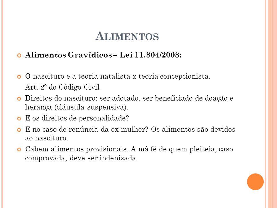 A LIMENTOS Alimentos Gravídicos – Lei 11.804/2008: O nascituro e a teoria natalista x teoria concepcionista. Art. 2º do Código Civil Direitos do nasci