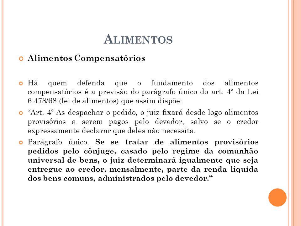 A LIMENTOS Alimentos Compensatórios Há quem defenda que o fundamento dos alimentos compensatórios é a previsão do parágrafo único do art. 4º da Lei 6.