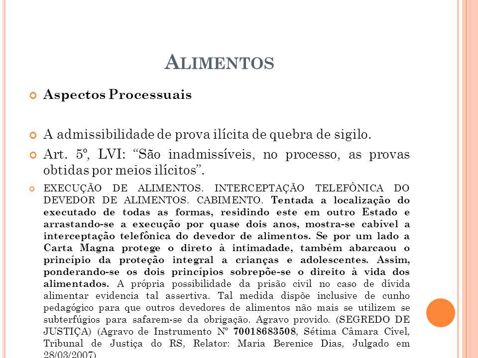A LIMENTOS Aspectos Processuais A admissibilidade de prova ilícita de quebra de sigilo. Art. 5º, LVI: São inadmissíveis, no processo, as provas obtida
