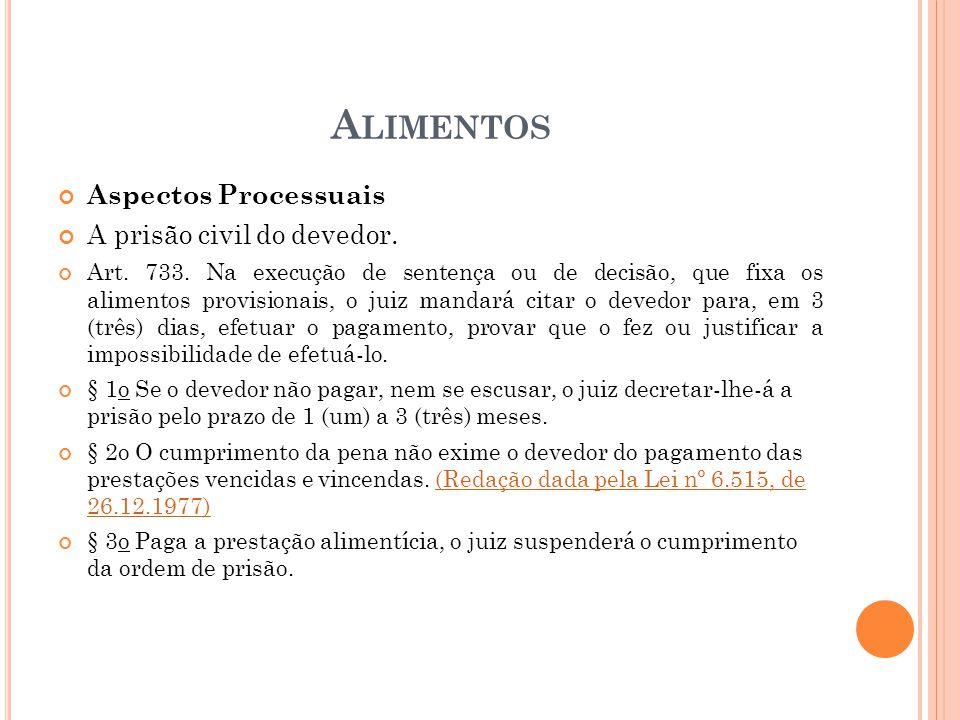 A LIMENTOS Aspectos Processuais A prisão civil do devedor. Art. 733. Na execução de sentença ou de decisão, que fixa os alimentos provisionais, o juiz