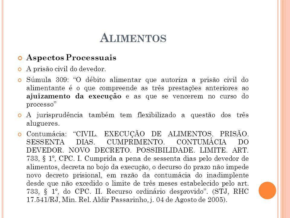 A LIMENTOS Aspectos Processuais A prisão civil do devedor. Súmula 309: O débito alimentar que autoriza a prisão civil do alimentante é o que compreend