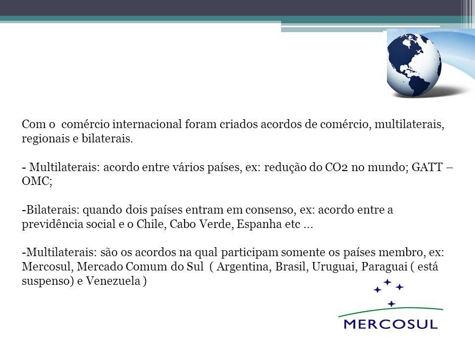 Com o comércio internacional foram criados acordos de comércio, multilaterais, regionais e bilaterais. - Multilaterais: acordo entre vários países, ex