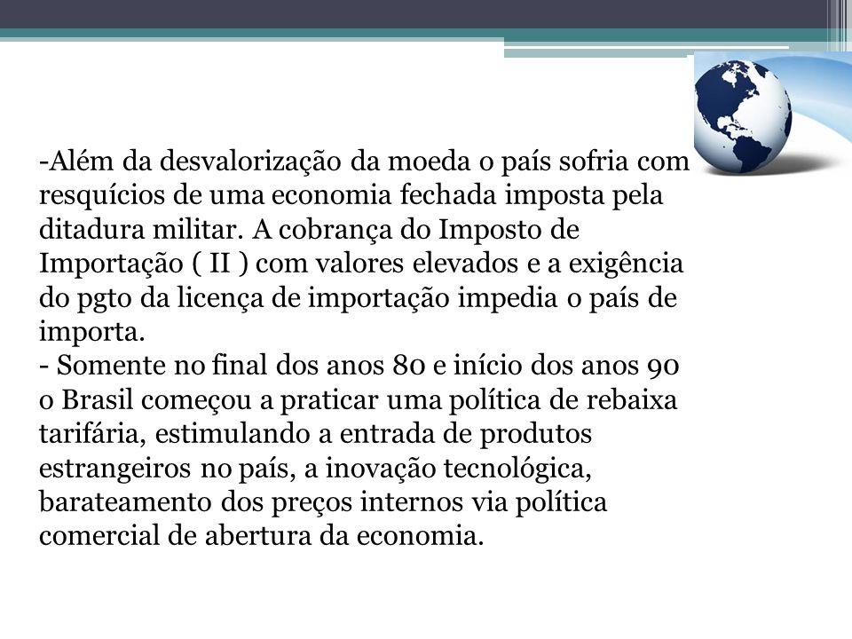 - Com o presidente Collor no comando a postura de política externa e comercial brasileira foi a de favorecer a entrada de produtos na economia, como tentativa de provocar um choque de competitividade e modernização; - Com a economia fechada o resultado que predominava na balança comercial era referente as exportações até início dos anos 90;