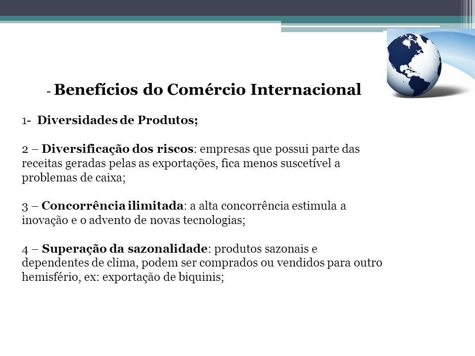 - Benefícios do Comércio Internacional 1- Diversidades de Produtos; 2 – Diversificação dos riscos: empresas que possui parte das receitas geradas pela