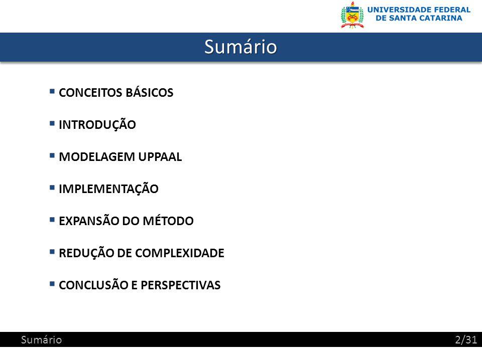 SumárioSumário CONCEITOS BÁSICOS INTRODUÇÃO MODELAGEM UPPAAL IMPLEMENTAÇÃO EXPANSÃO DO MÉTODO REDUÇÃO DE COMPLEXIDADE CONCLUSÃO E PERSPECTIVAS Sumário2/31