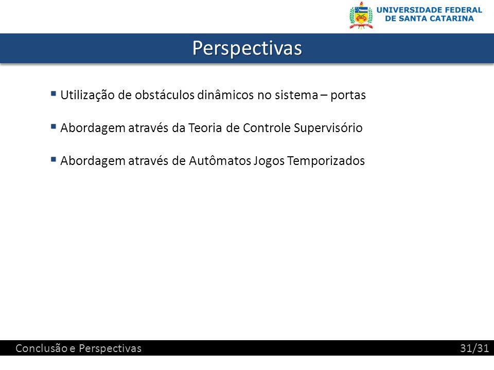 PerspectivasPerspectivas Utilização de obstáculos dinâmicos no sistema – portas Abordagem através da Teoria de Controle Supervisório Abordagem através de Autômatos Jogos Temporizados Conclusão e Perspectivas31/31