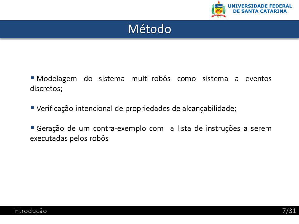 MétodoMétodo Modelagem do sistema multi-robôs como sistema a eventos discretos; Verificação intencional de propriedades de alcançabilidade; Geração de um contra-exemplo com a lista de instruções a serem executadas pelos robôs Introdução7/31