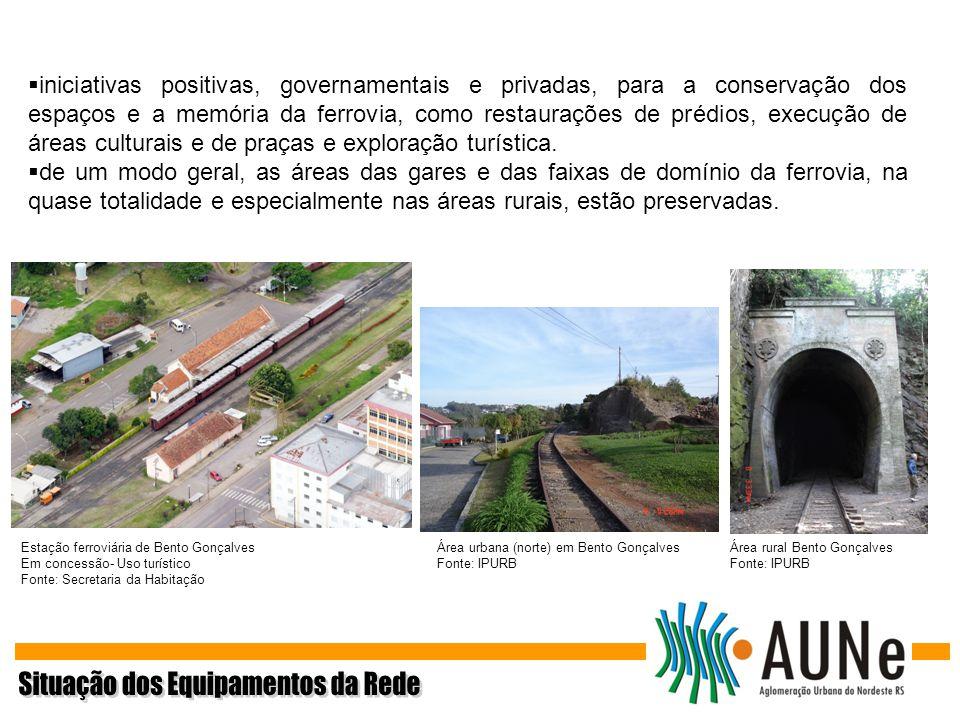 iniciativas positivas, governamentais e privadas, para a conservação dos espaços e a memória da ferrovia, como restaurações de prédios, execução de ár