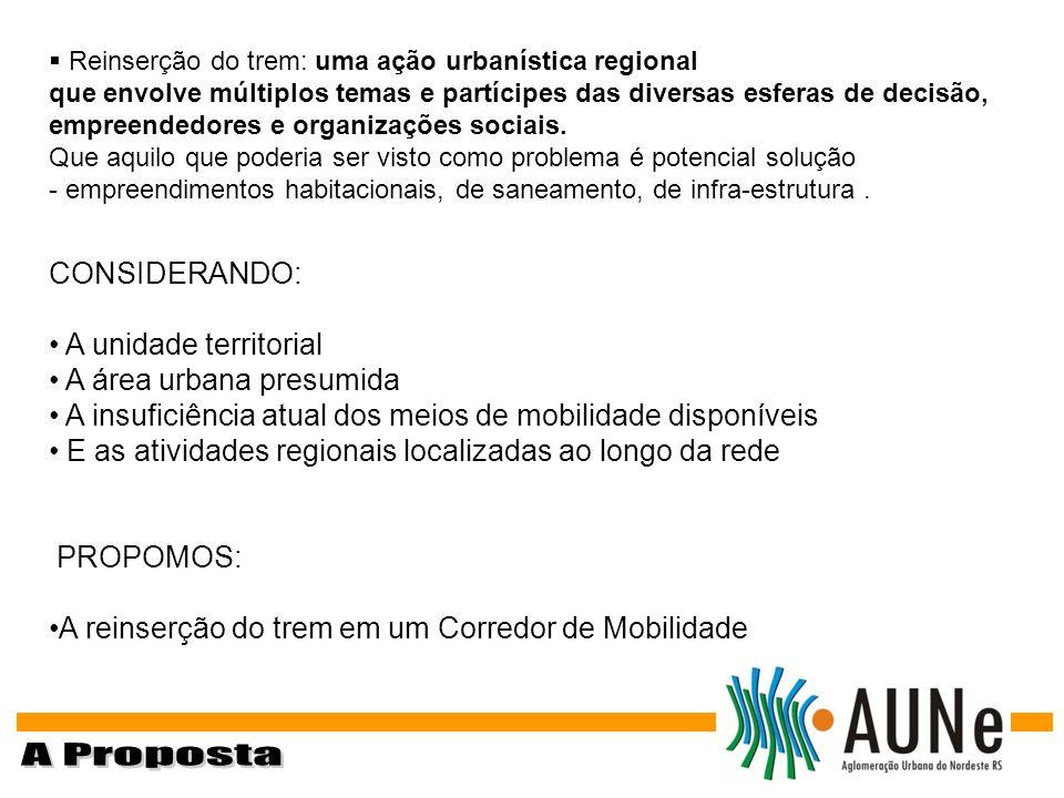 CONSIDERANDO: A unidade territorial A área urbana presumida A insuficiência atual dos meios de mobilidade disponíveis E as atividades regionais locali