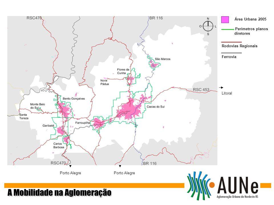 Mobilidade na escala da aglomeração: modal rodoviário, utilizando basicamente um único eixo para o deslocamento de pessoas e cargas entre as sedes urbanas.