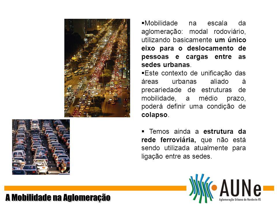 Mobilidade na escala da aglomeração: modal rodoviário, utilizando basicamente um único eixo para o deslocamento de pessoas e cargas entre as sedes urb