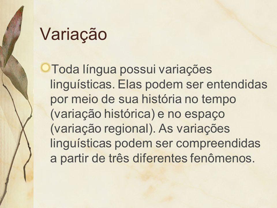 Variação Toda língua possui variações linguísticas. Elas podem ser entendidas por meio de sua história no tempo (variação histórica) e no espaço (vari