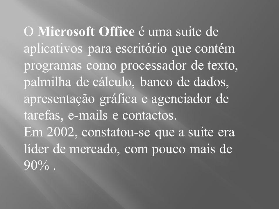 O Microsoft Office é uma suite de aplicativos para escritório que contém programas como processador de texto, palmilha de cálculo, banco de dados, apr