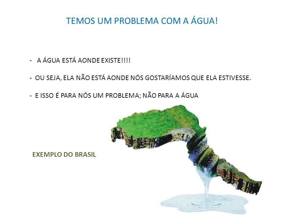 TEMOS UM PROBLEMA COM A ÁGUA! - A ÁGUA ESTÁ AONDE EXISTE!!!! - OU SEJA, ELA NÃO ESTÁ AONDE NÓS GOSTARÍAMOS QUE ELA ESTIVESSE. - E ISSO É PARA NÓS UM P