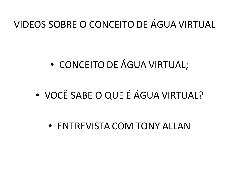 VIDEOS SOBRE O CONCEITO DE ÁGUA VIRTUAL CONCEITO DE ÁGUA VIRTUAL; VOCÊ SABE O QUE É ÁGUA VIRTUAL? ENTREVISTA COM TONY ALLAN