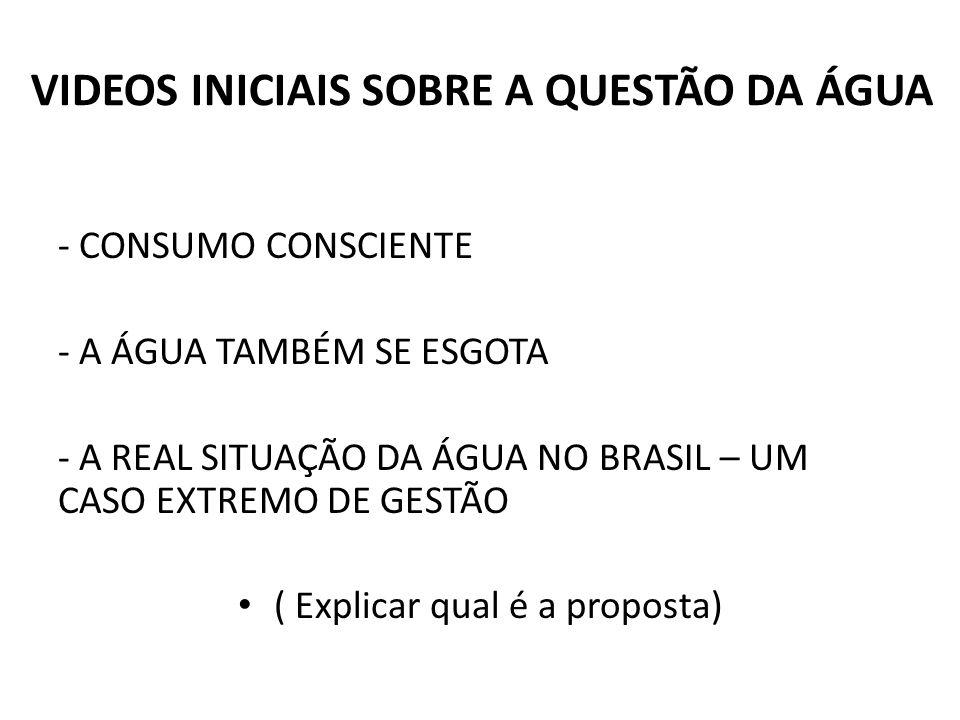 VIDEOS INICIAIS SOBRE A QUESTÃO DA ÁGUA - CONSUMO CONSCIENTE - A ÁGUA TAMBÉM SE ESGOTA - A REAL SITUAÇÃO DA ÁGUA NO BRASIL – UM CASO EXTREMO DE GESTÃO