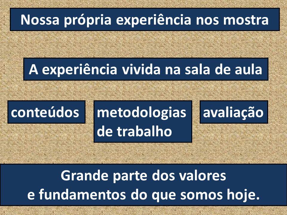 Nossa própria experiência nos mostra A experiência vivida na sala de aula conteúdosmetodologias de trabalho avaliação Grande parte dos valores e funda