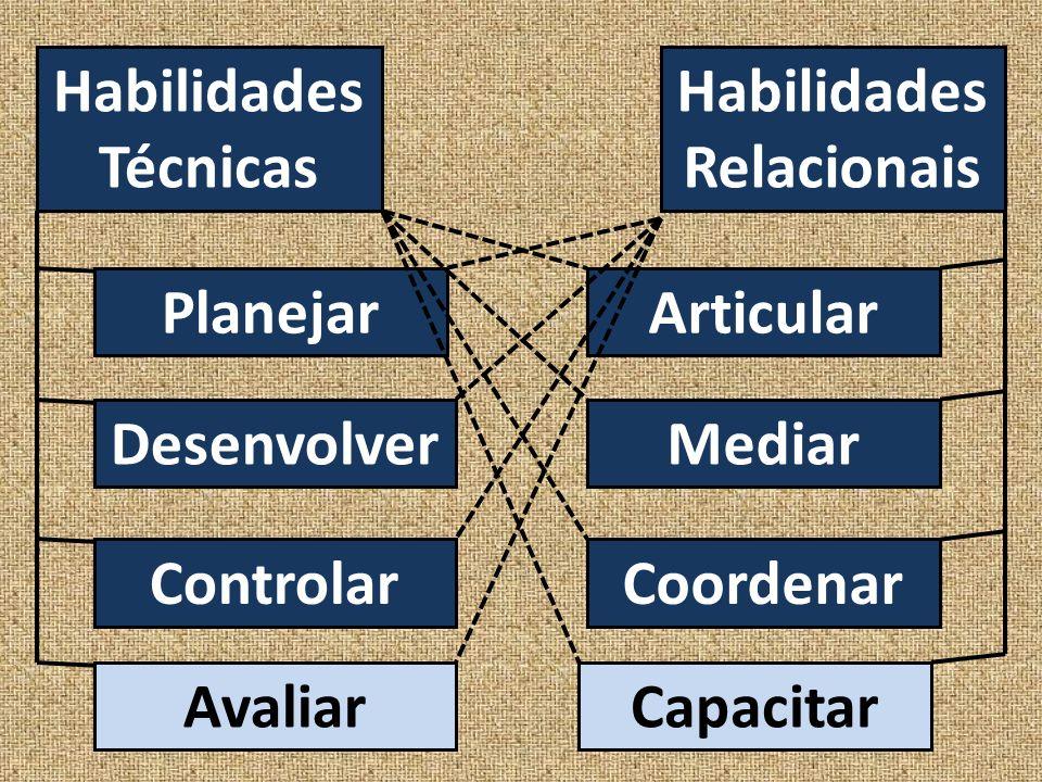 Habilidades Técnicas Habilidades Relacionais Planejar Desenvolver Controlar Avaliar Articular Mediar Coordenar Capacitar