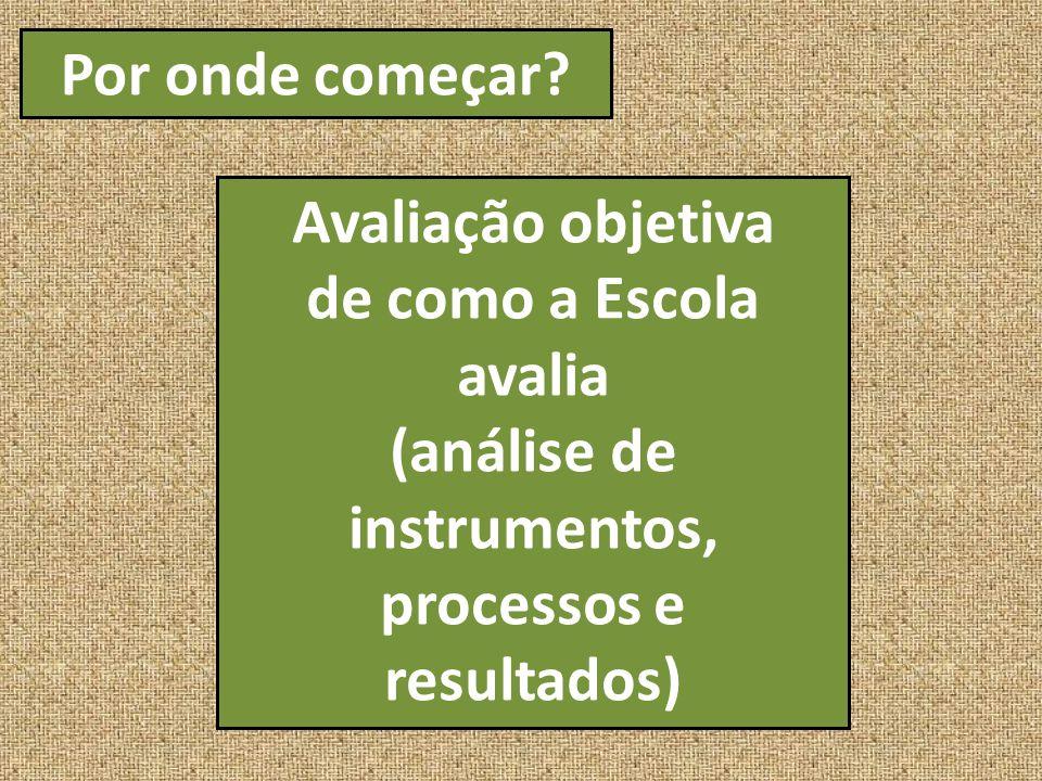 Por onde começar? Avaliação objetiva de como a Escola avalia (análise de instrumentos, processos e resultados)