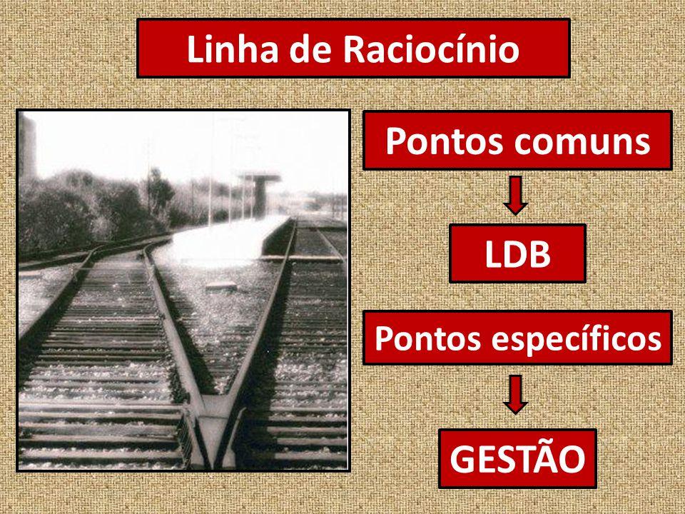 Linha de Raciocínio Pontos comuns LDB Pontos específicos GESTÃO