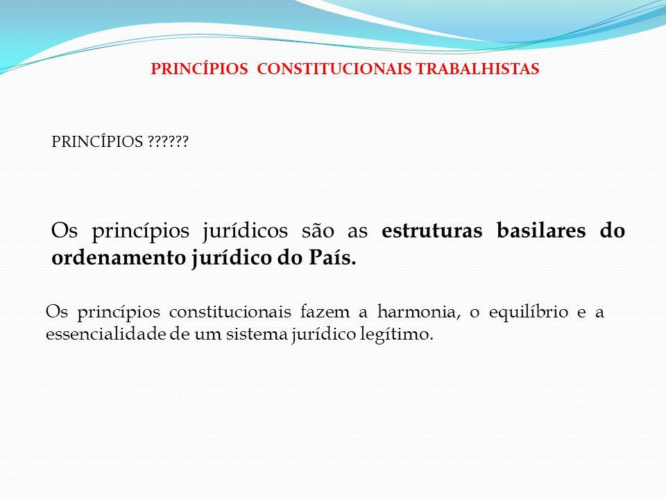 PRINCÍPIOS ?????? Os princípios jurídicos são as estruturas basilares do ordenamento jurídico do País. PRINCÍPIOS CONSTITUCIONAIS TRABALHISTAS Os prin