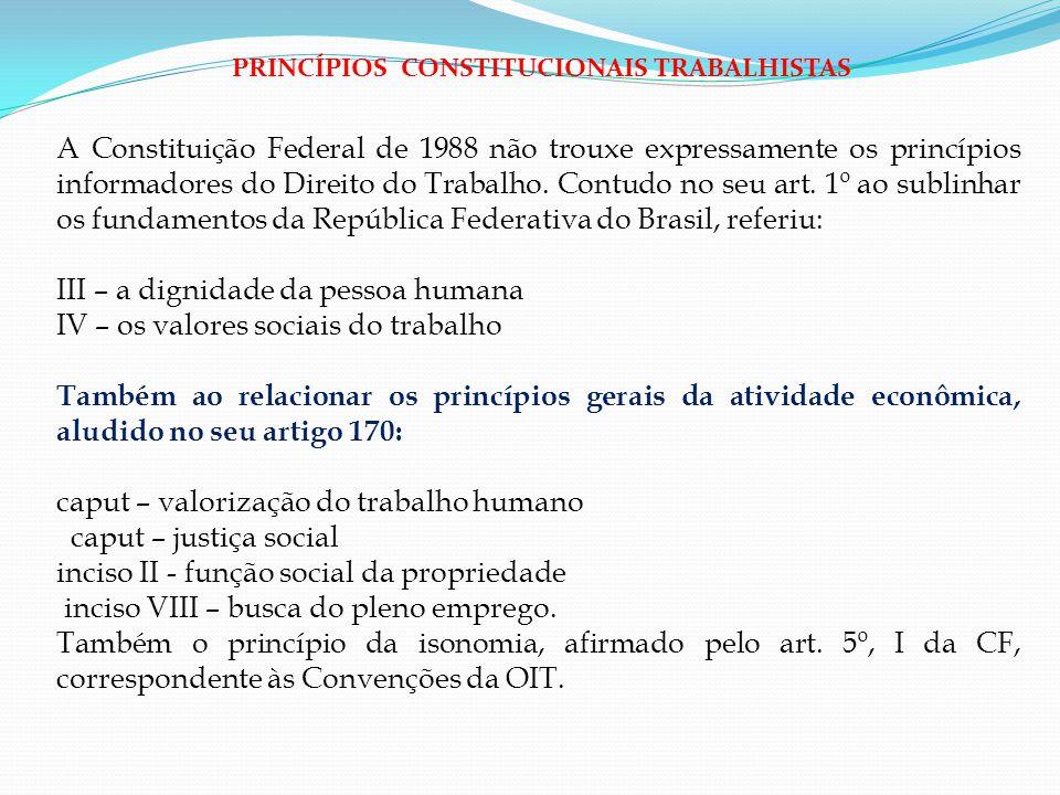 A Constituição Federal de 1988 não trouxe expressamente os princípios informadores do Direito do Trabalho. Contudo no seu art. 1º ao sublinhar os fund