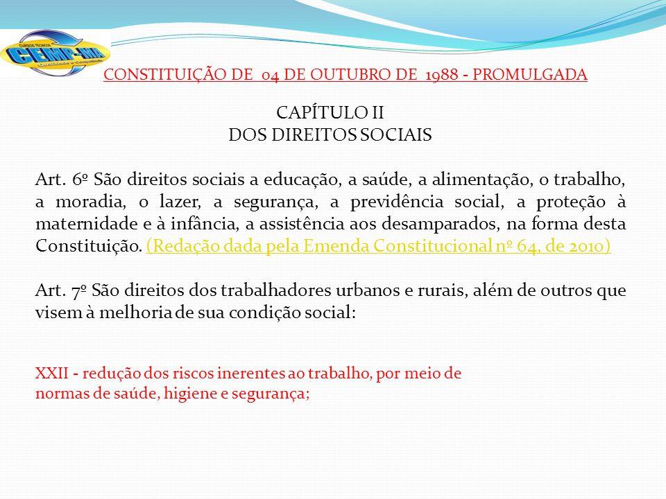 CONSTITUIÇÃO DE 04 DE OUTUBRO DE 1988 - PROMULGADA CAPÍTULO II DOS DIREITOS SOCIAIS Art. 6º São direitos sociais a educação, a saúde, a alimentação, o