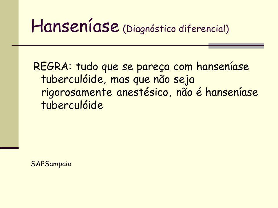 Hanseníase (Diagnóstico diferencial) REGRA: tudo que se pareça com hanseníase tuberculóide, mas que não seja rigorosamente anestésico, não é hansenías