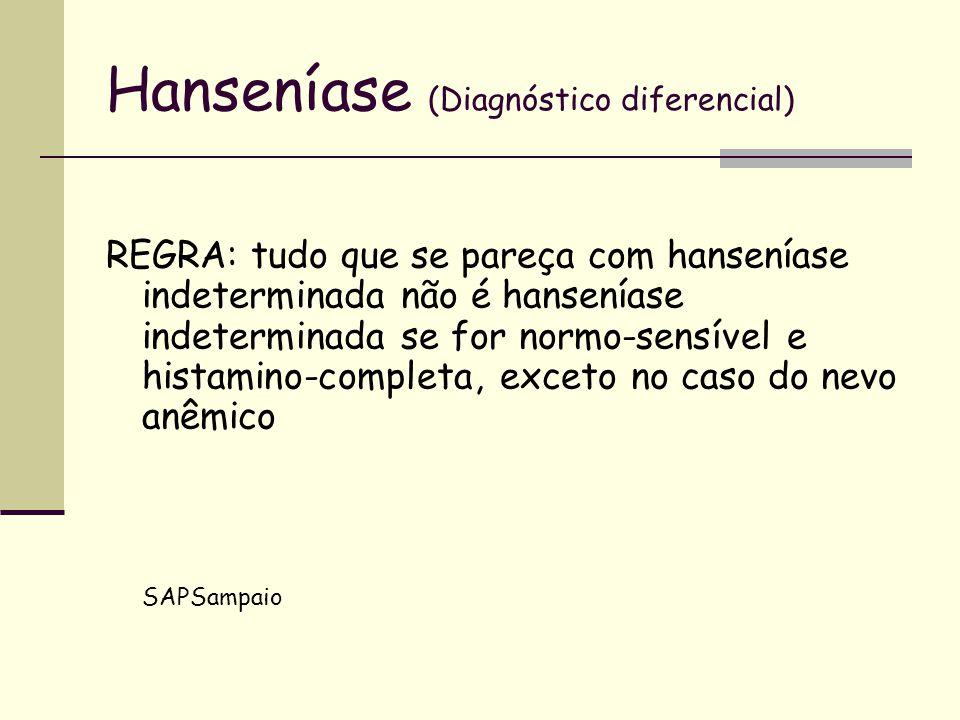 Hanseníase (Diagnóstico diferencial) REGRA: tudo que se pareça com hanseníase indeterminada não é hanseníase indeterminada se for normo-sensível e his