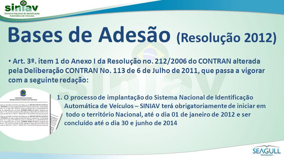 Bases de Adesão (Resolução 2012) Art. 3º. item 1 do Anexo I da Resolução no. 212/2006 do CONTRAN alterada pela Deliberação CONTRAN No. 113 de 6 de Jul