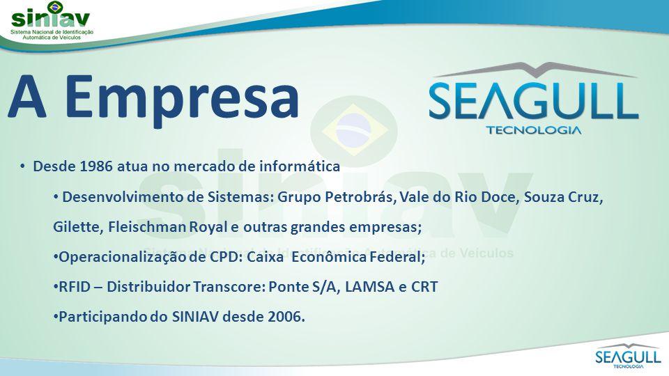SEAGULL x SINIAV Participação ativa nos Grupos de Trabalho que definiram o SINIAV Desenvolvimento de uma Tag SINIAV semi-passiva Desenvolvimento de um Leitor SINIAV de alta sensibilidade Implantação de Projeto Piloto no Rio de Janeiro Solução Completa SINIAV