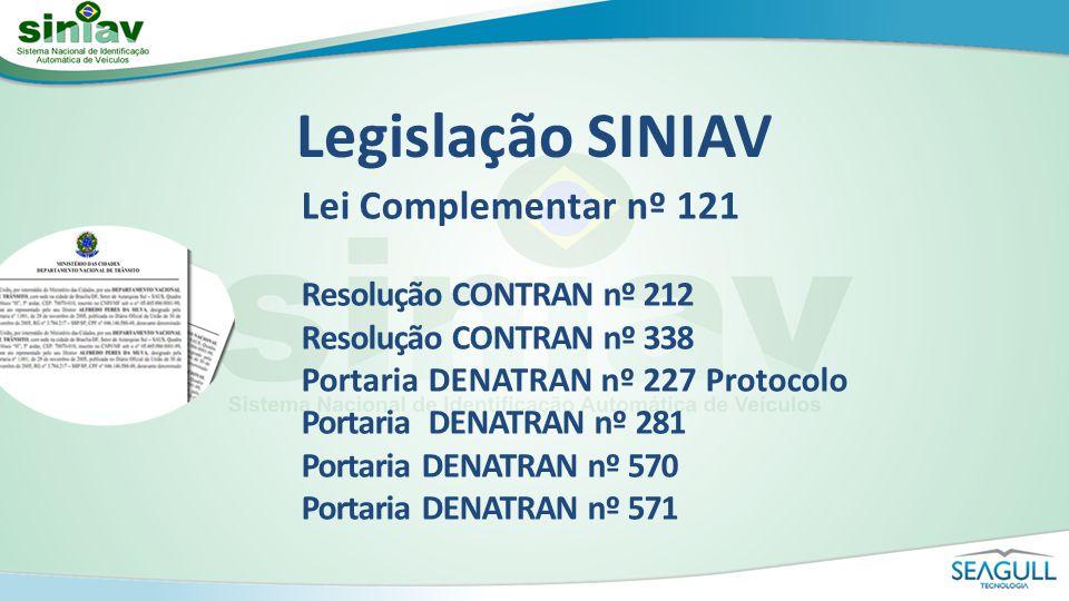 Lei Complementar nº 121 Resolução CONTRAN nº 212 Resolução CONTRAN nº 338 Portaria DENATRAN nº 227 Protocolo Portaria DENATRAN nº 281 Portaria DENATRA